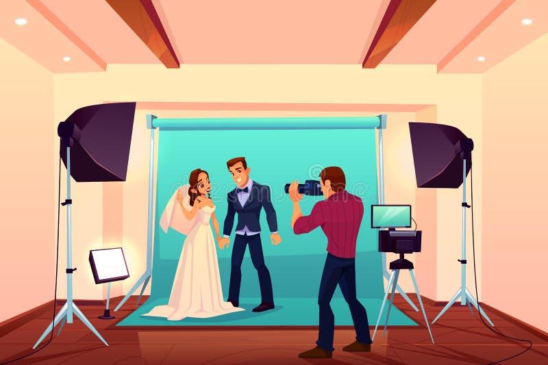 Casarse la sesión fotográfica del estudio con la novia y el novio ilustración del vector