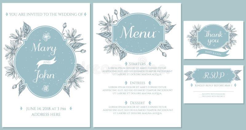 Casarse la tarjeta de la invitación con la alcachofa de Jerusalén azul clara ilustración del vector