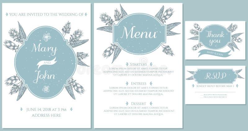 Casarse la tarjeta de la invitación con la cúrcuma azul clara ilustración del vector