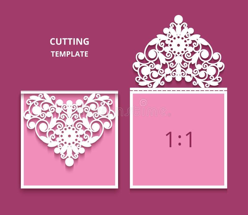 Casarse la tarjeta de la invitación con la decoración del cordón stock de ilustración