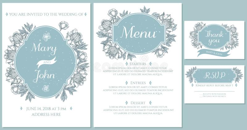 Casarse la tarjeta de la invitación con el globeflower azul claro ilustración del vector