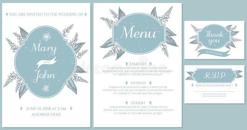 Casarse la tarjeta de la invitación con el jengibre azul claro ilustración del vector