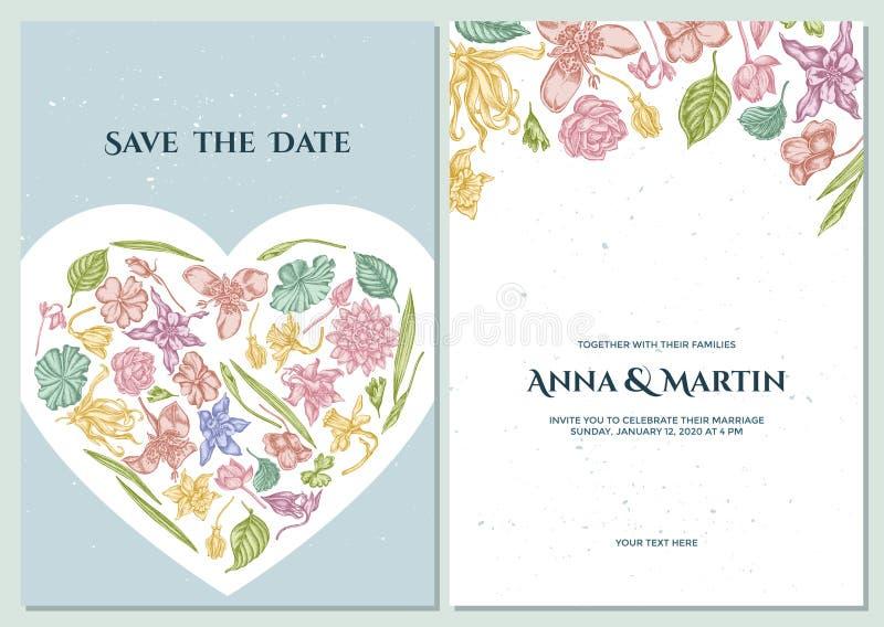 Casarse la tarjeta de la invitación con el ylang-ylang en colores pastel, impatiens, narciso, tigridia, loto, aquilegia ilustración del vector