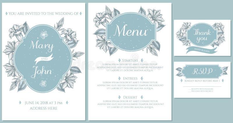Casarse la tarjeta de la invitación con gentiana azul claro stock de ilustración