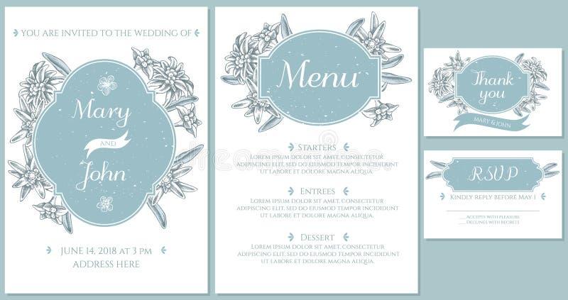 Casarse la tarjeta de la invitación con las edelweiss azules claras stock de ilustración