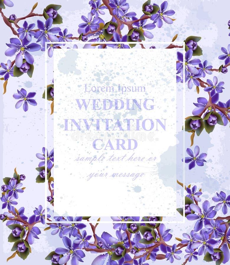 Casarse la tarjeta de la invitación con vector púrpura de las flores Decoración hermosa del marco ilustración del vector