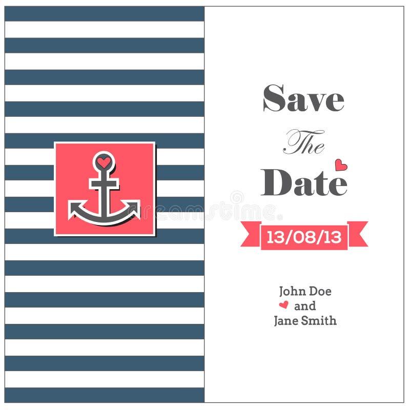 Casarse la tarjeta náutica de la invitación con el ancla ilustración del vector