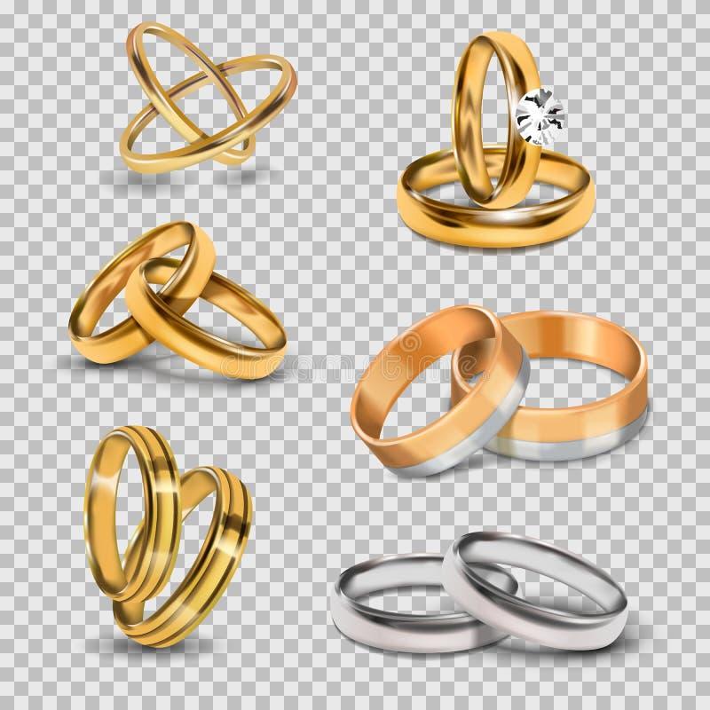 Casarse los anillos realistas oro de los pares 3d y el accesorio romántico de la joyería del metal plateado aisló el ejemplo del  ilustración del vector