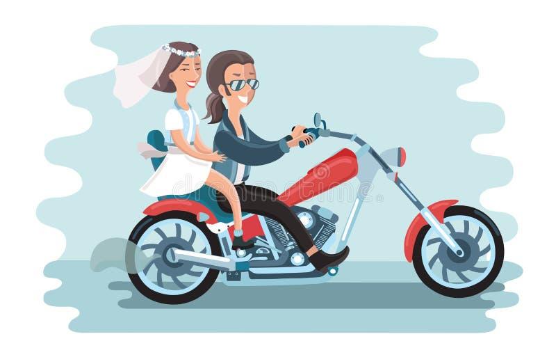 Casarse los pares jovenes que montan la motocicleta ilustración del vector