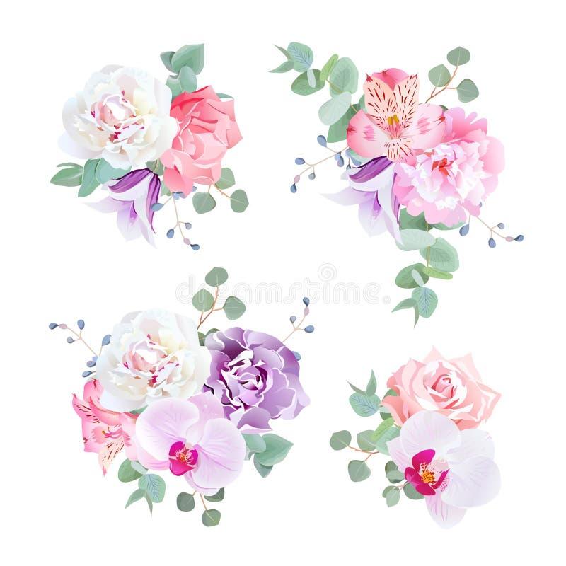 Casarse ramos delicados del regalo en tonos púrpuras, rosados y blancos libre illustration