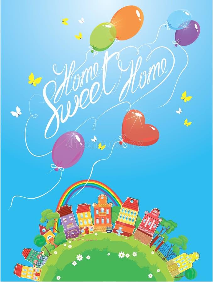 Casas, árboles, arco iris e impulsos coloridos decorativos stock de ilustración