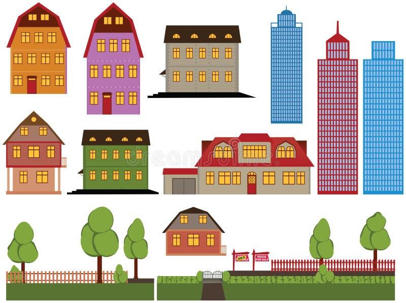 Casas ilustração royalty free