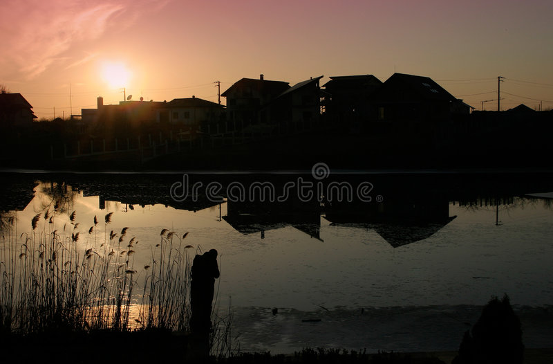 Download Casas imagem de stock. Imagem de silhueta, sunrise, plantas - 535619
