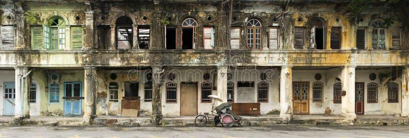 Casas abandonadas da herança, George Town, Penang, Malásia imagens de stock
