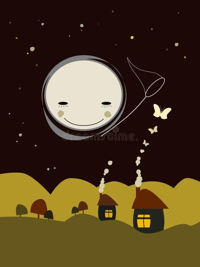 Casas abstractas con la Luna Llena ilustración del vector