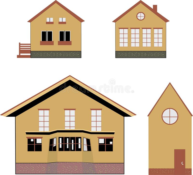 Casas acogedoras del pueblo ilustración del vector