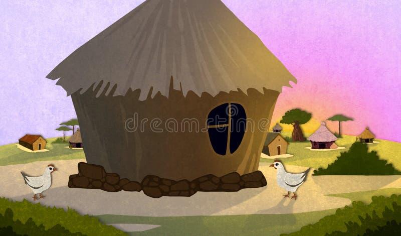 Casas africanas del pueblo ilustración del vector
