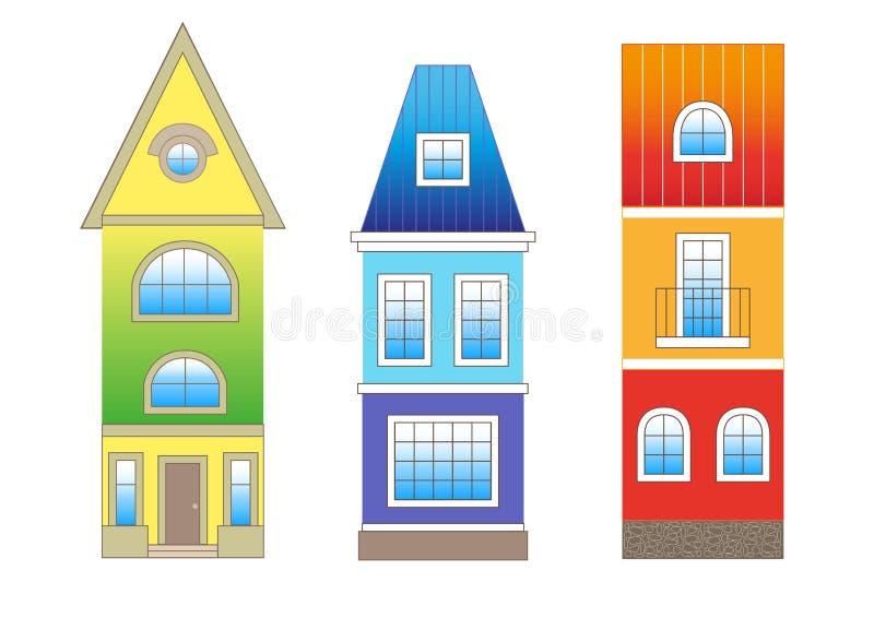 Casas ajustadas no estilo liso Construções lisas modernas ajustadas O molde colorido para você projeta, Web e aplicações móveis ilustração do vetor