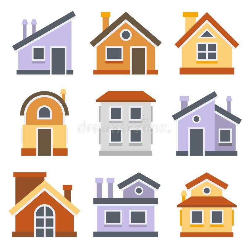 Casas ajustadas Projeto liso do estilo Vetor ilustração stock