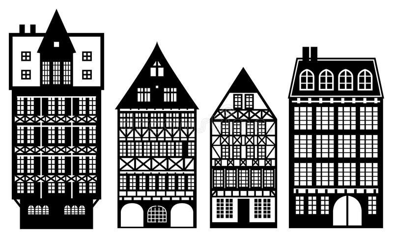 Casas alemanas viejas stock de ilustración