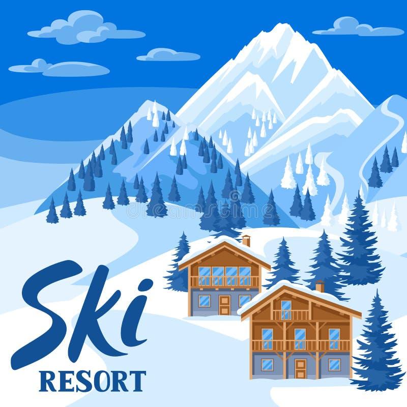 Casas alpinas del chalet Ejemplo de la estación de esquí del invierno Paisaje hermoso con las montañas y el bosque nevosos del ab libre illustration
