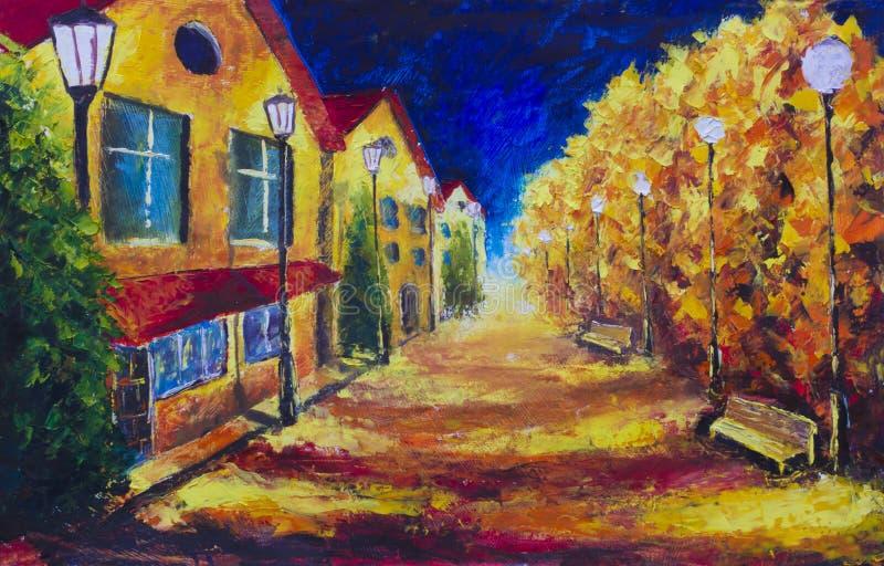 Casas amarelas da noite na rua abandonada outono Luzes de rua ilustração royalty free