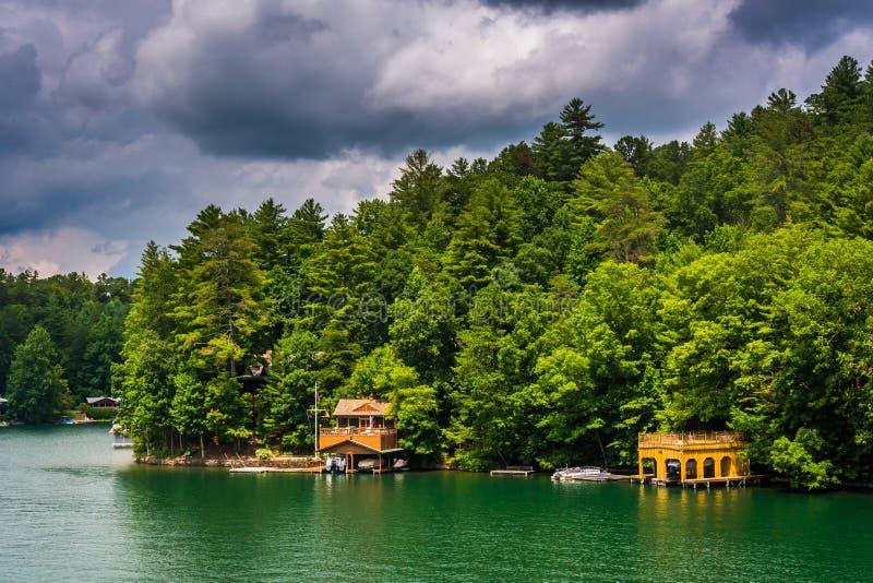 Casas ao longo da costa do lago Burton, em Geórgia fotos de stock