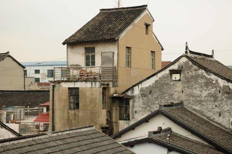 Casas asiáticas resistidas da arquitetura imagem de stock