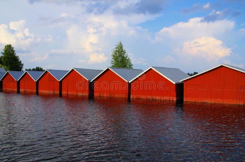 Casas barco Finlandia imagen de archivo libre de regalías