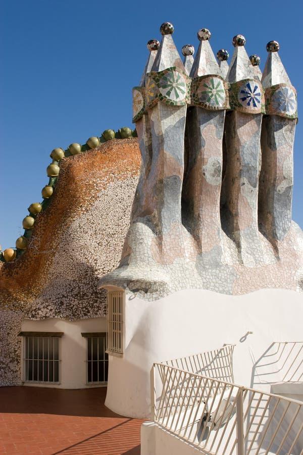 Casas Batllo - chimeneas fotos de archivo libres de regalías