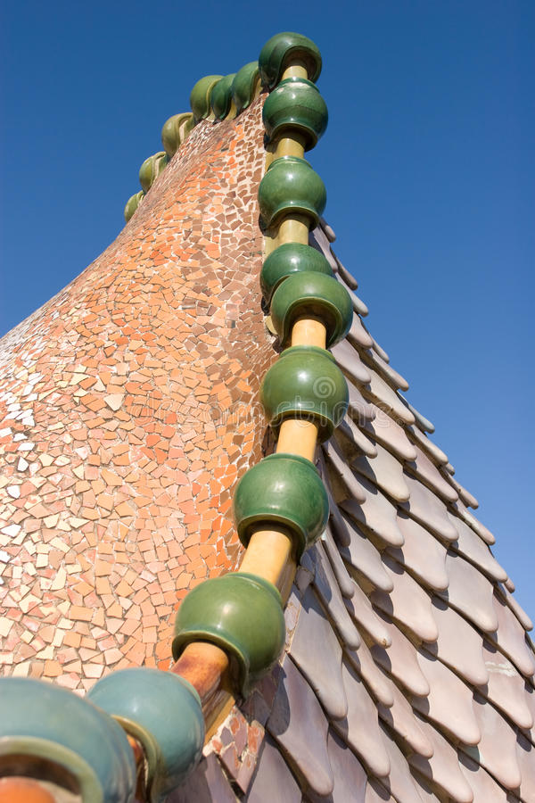 Casas Batllo - telhado imagem de stock
