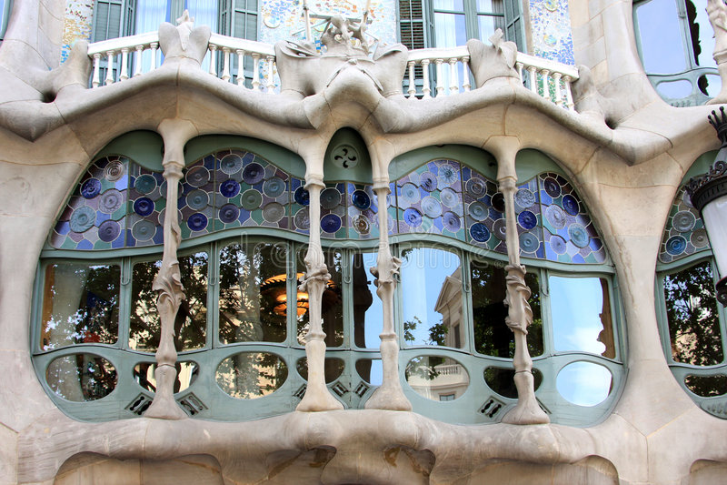 Casas Battlo, edifício de Nouveau da arte em Barcelona fotos de stock