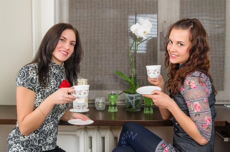 casas bonitas do chá e do bate-papo da bebida das mulheres fotografia de stock