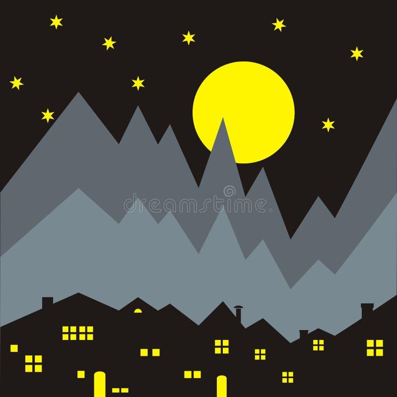 Casas, cena da noite ilustração stock