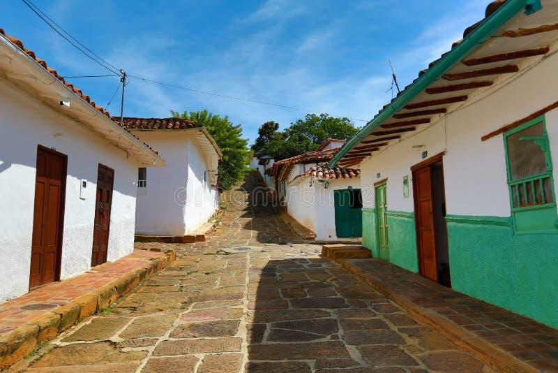 Casas coloniais em Barichara Colômbia J foto de stock