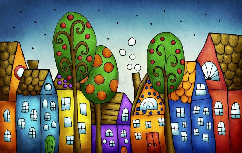 Casas coloridas de la fantasía ilustración del vector