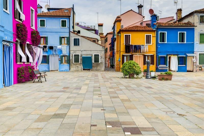 Casas coloridas de la isla de Burano foto de archivo libre de regalías