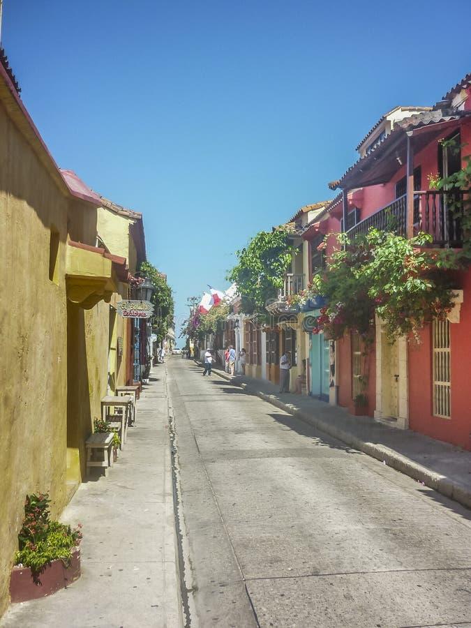 Casas coloridas do estilo colonial em Cartagena de Índia Colômbia imagem de stock royalty free