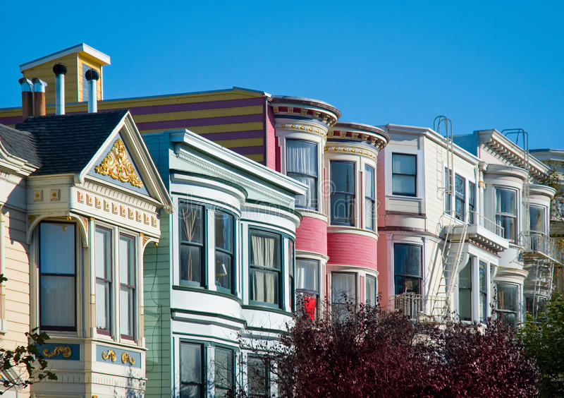 Casas coloridas do Victorian em San Francisco imagens de stock royalty free