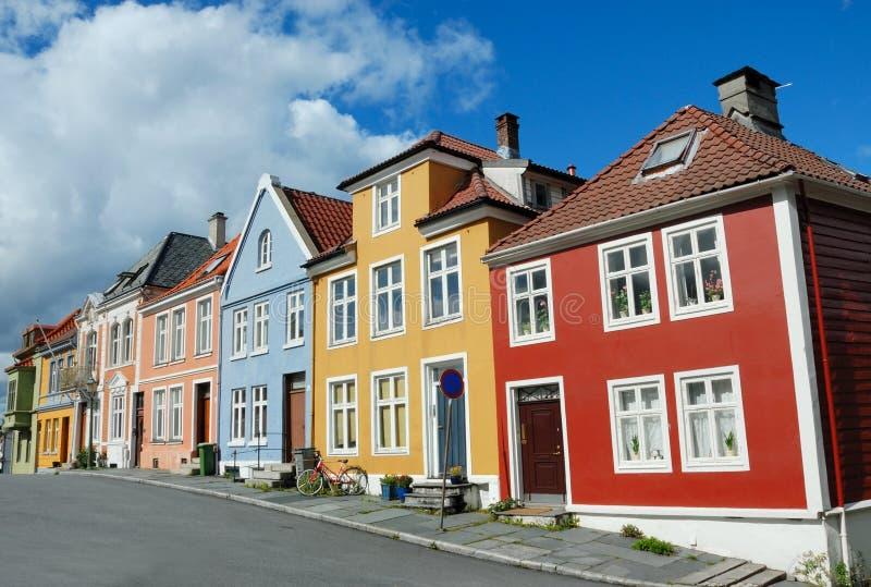 Casas coloridas em Bergen Noruega fotos de stock royalty free