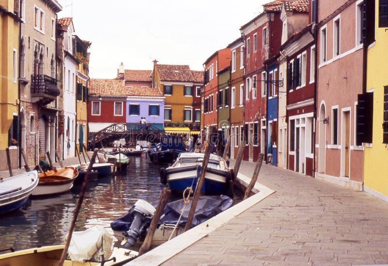 Casas coloridas em Burano, Veneza - Italy fotografia de stock
