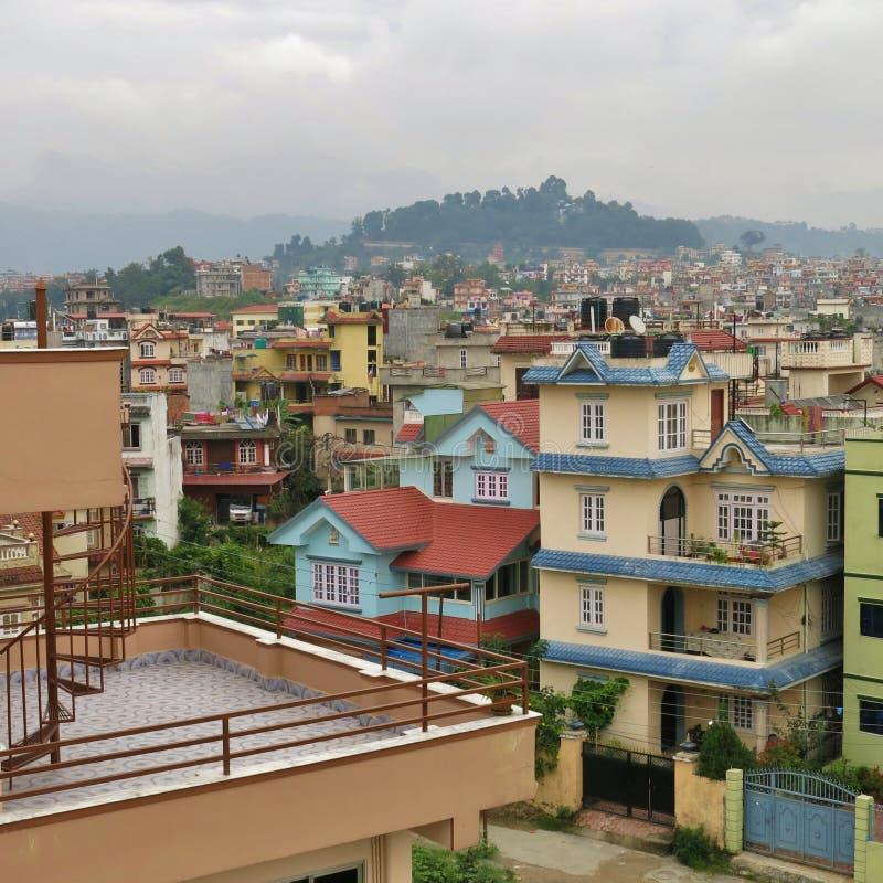 Casas coloridas em Kathmandu fotos de stock royalty free