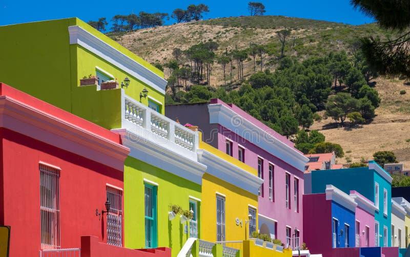 Casas coloridas en Bo Kaap, el barrio malayo de Ciudad del Cabo, Sudáfrica fotos de archivo