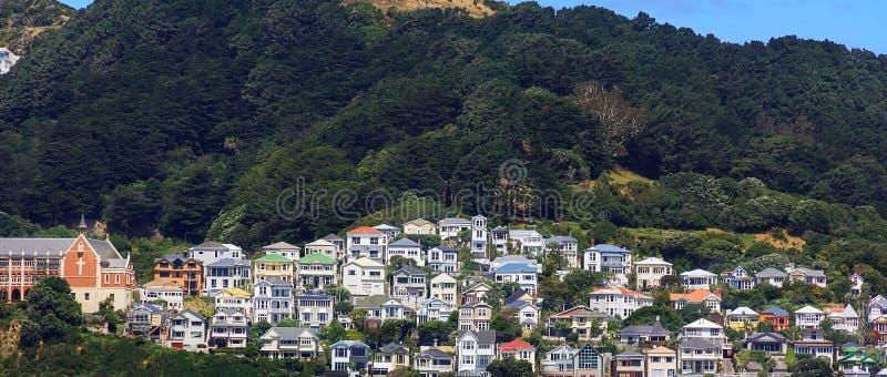 Casas coloridas en el soporte Victoria en Wellington, Nueva Zelanda fotografía de archivo libre de regalías