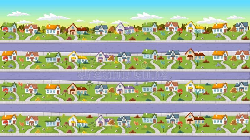 Casas coloridas en vecindad del suburbio libre illustration