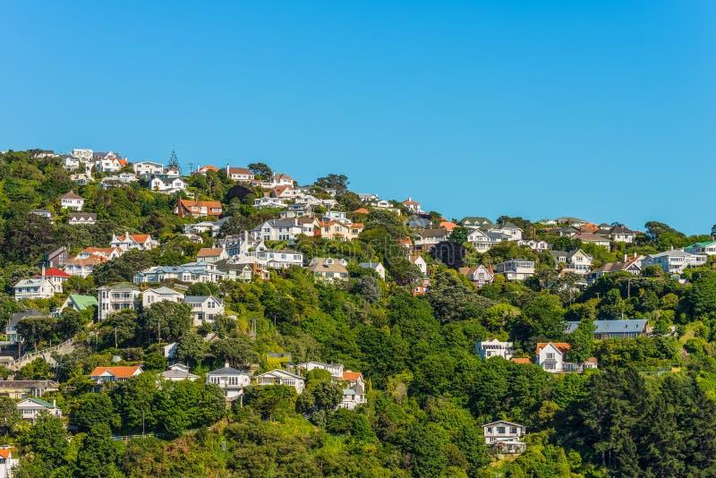 Casas coloridas en Wellington fotos de archivo