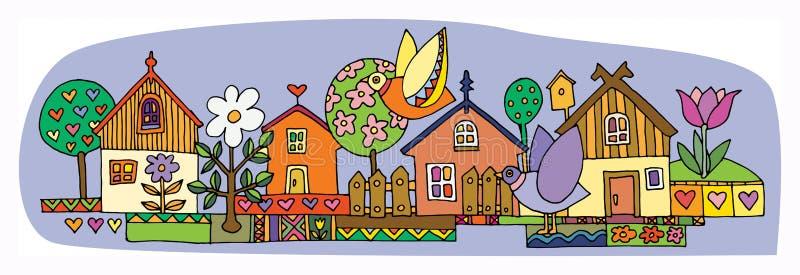 Casas coloridas fijadas libre illustration