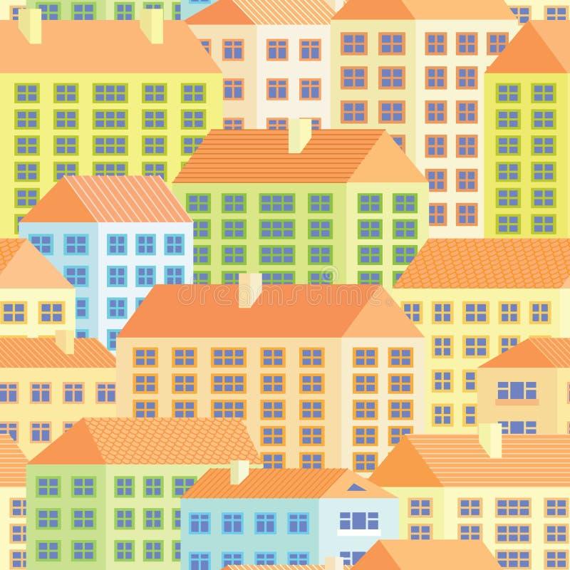 Casas coloridas - modelo inconsútil stock de ilustración
