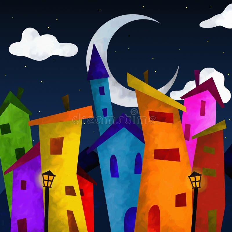 Casas coloridas na noite ilustração do vetor