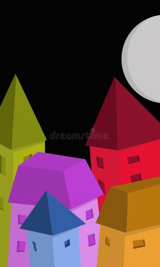 casas coloridas na noite ilustração royalty free